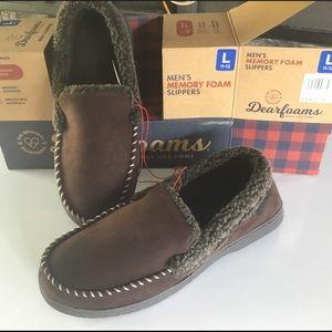 Dearfoams men's slippers, brown, large
